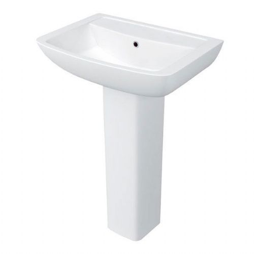 Kartell Pure Basin - 550mm Wide - Full Pedestal - 1 Tap Hole - White